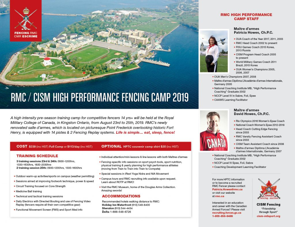 RMC/CISM High Performance Training Camp 2019 @ RMC Fencing Salle
