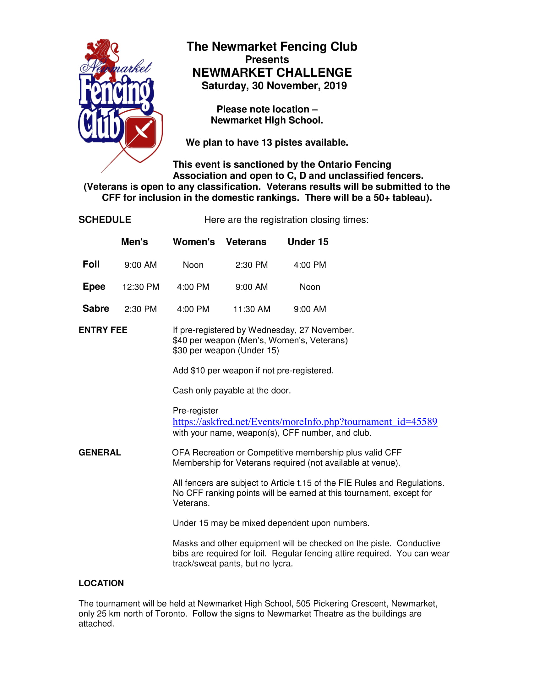 Newmarket Fencing Invitational (OWG Central Qualifier)