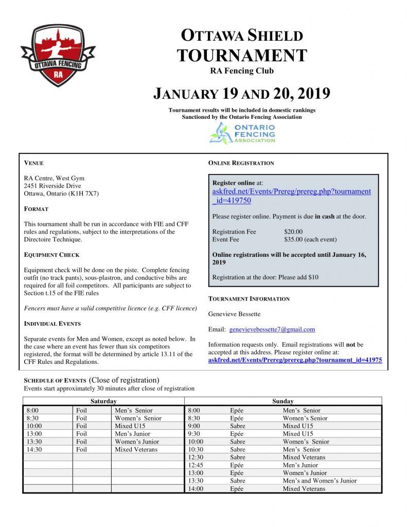 2019 Ottawa Shield @ RA Fencing Club